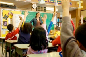 Elementary classroom setting.  Focus on teacher and chalkboard.